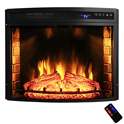 AKDY 28″ Black Electric Firebox Fireplace Heater Insert Curve Glass Panel W/Remote Azfl-EF06-28r