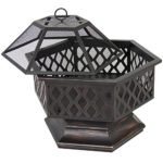 Best Choice Products BCP Hex Shaped Outdoor Home Garden Backyard Fireplace image