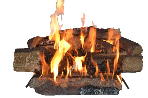 Country Split Oak Vented Dual Burner Log Set for Natural Gas Fireplace, 24-Inch