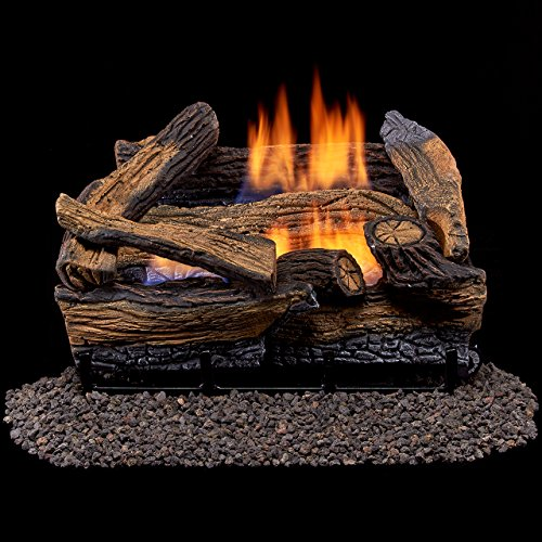 Duluth Forge Vent Free Dual Fuel Gas Log Set – 18 in. Split Red Oak – Remote Control