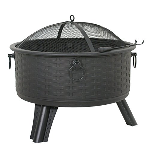 F2C Outdoor Heavy Steel 26″ Fire Pit Wood Burning Fireplace Patio Backyard Heater Steel Firepit Bowl W/Waterproof Cover (Model#05)