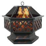 F2C Outdoor Heavy Steel Fire Pit Wood Burning Fireplace Patio Backyard Heater Steel Firepit Bowl W/Waterproof Dust Cover (Model#01) image