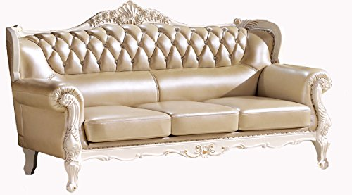 ma xiaoying solid wood frame carved by hands leather and luxury classical collection 3pc set sofa and loveseat and chair grey by ma xiaoying - Wood Frame Loveseat