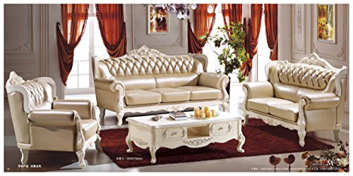 Ma Xiaoying Solid Wood Frame Carved by Hands, Leather and Luxury Classical ,Collection 3pc Set: Sofa and Loveseat and Chair . Grey by Ma Xiaoying.