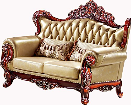 Ma Xiaoying Solid Wood Frame Carved by Hands, Leather and Luxury Classical Sofa Sets,Collection 3pc Living Room Set: Chair,Loveseat and Sofa , light Brown by Ma Xiaoying