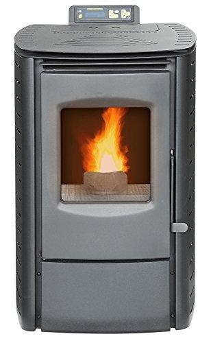 Freestanding fireplace pellet stove heater in black with glass door freestanding fireplace pellet stove heater in black with glass door and lcd display planetlyrics Choice Image