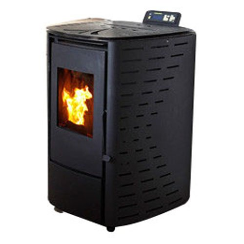 Freestanding Fireplace Pellet Stove Heater in Black with Glass Door and LCD Display
