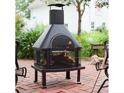 Outdoor Fireplace – Wood Burning Outdoor Fireplace with Smokestack; Gather Around the Fire in Your Backyard with This Modern Outdoor Fireplace