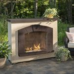 Outdoor Great Room Stone Arch Gas Fireplace with Stucco Finish image