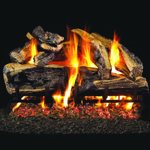 Peterson Real Fyre 24-inch Charred Rugged Split Oak Log Set With Vented Natural Gas G45 Burner – Match Light