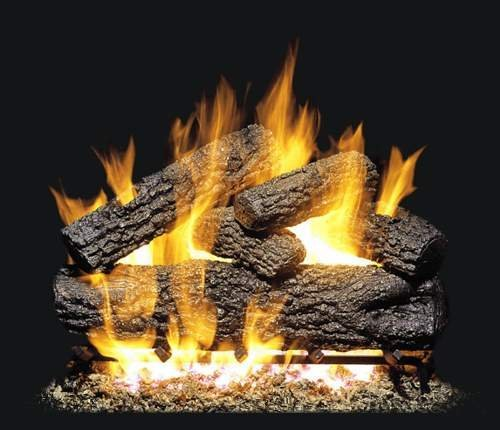 Peterson Real Fyre 24-inch Post Oak Log Set With Vented Natural Gas G4 Burner – Match Light