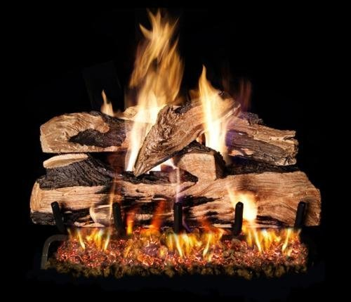 Peterson Real Fyre 24-inch Split Oak Designer Plus Log Set With Vented Natural Gas G4 Burner – Match Light