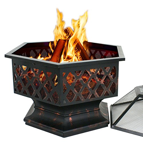 Smartxchoices 24 Inch Outdoor Heavy Steel Fire Pit Wood Burning Fireplace Patio Backyard Heater Steel Firepit Bowl W/ Waterproof Dust Cover (Model#01)