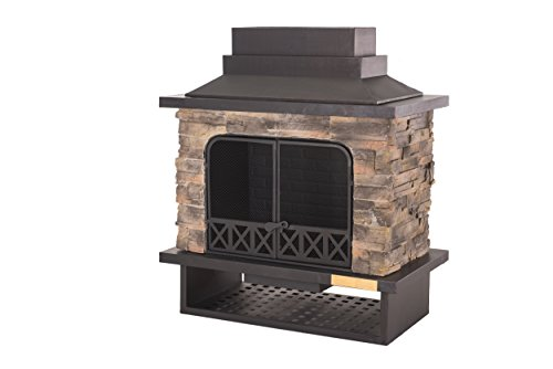 Sunjoy L-OF079PST-1 Farmington 48″ Steel and Faux Stack Stone Outdoor Fireplace