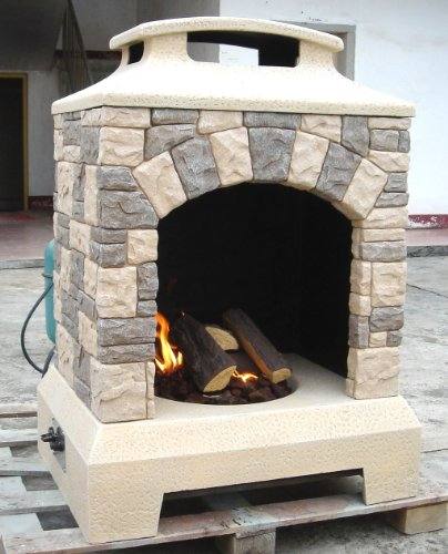 Tuscan Stone Style Outdoor Backyard Gas Fire Pit Fireplace, with Fire Logs