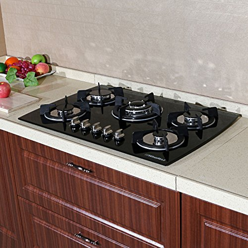 WindMax(R) 30″ Tempered Glass 3.3KW/h Built-in Kitchen 5 Burner Oven Gas Cooktops Stove Cook Top