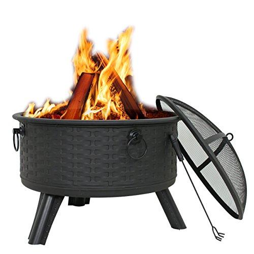"Zeny 26"" Fire Pit Patio Fireplace Backyard Garden Woven Base Cast Iron Firepit Wood Burning W/ Mesh Cover (#01)"