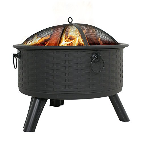 "Zeny 26"" Fire Pit Patio Fireplace Backyard Garden Woven Base Cast Iron Firepit Wood Burning W/ Mesh Cover (#01)"
