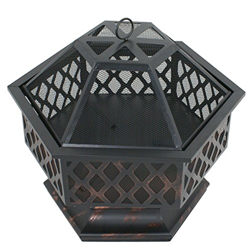 Zeny Fire Pit Hex Shaped Fireplace Outdoor Home Garden Backyard Firepit,Oil Rubbed Bronze