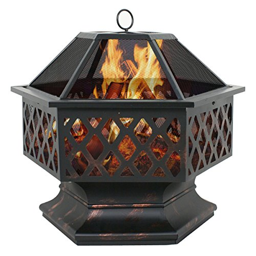 Smartxchoices 24 Inch Outdoor Heavy Steel Fire Pit Wood Burning Fireplace Patio Backyard Heater Steel Firepit Bowl W/ Waterproof Dust Cover (Model#01)